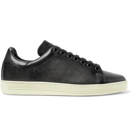 TOM FORD - Warwick Perforated Leather Sneakers - Men - Dark gray