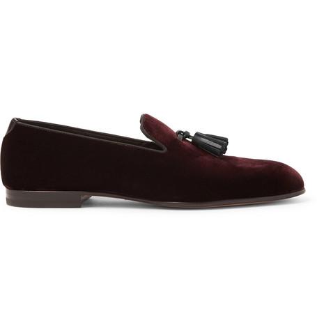 TOM FORD - William Leather-Trimmed Velvet Tasselled Loafers - Men - Burgundy