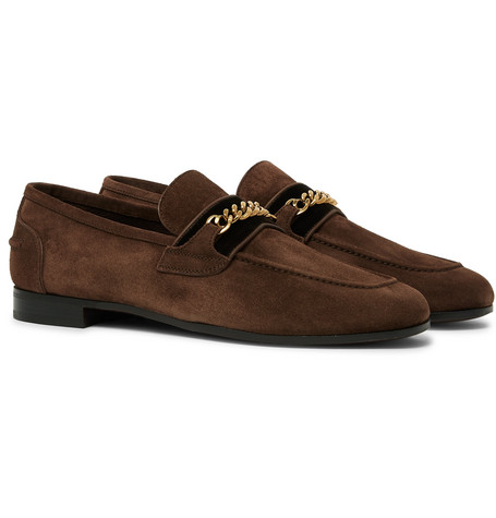 TOM FORD - Wilton Chain-Embellished Velvet-Trimmed Suede Loafers - Men - Brown