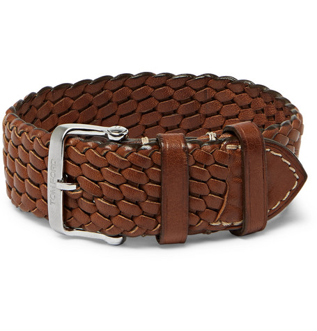 TOM FORD - Woven Leather Watch Strap - Men - Brown