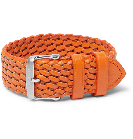 TOM FORD - Woven Leather Watch Strap - Men - Orange