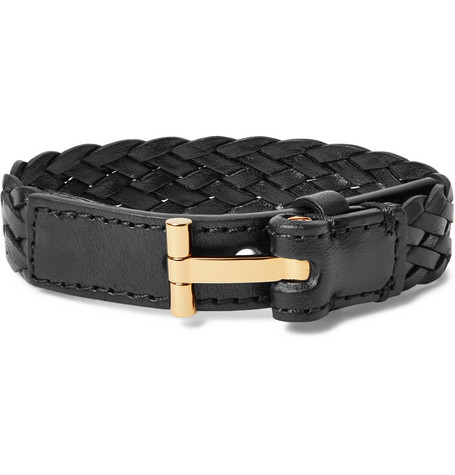 TOM FORD - Woven Leather and Gold-Tone Bracelet - Men - Black
