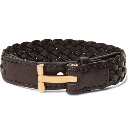 TOM FORD - Woven Leather and Gold-Tone Bracelet - Men - Brown