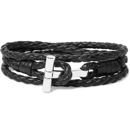 TOM FORD - Woven Leather and Palladium-Plated Wrap Bracelet - Men - Black