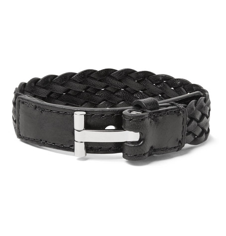 TOM FORD - Woven Leather and Silver-Tone Bracelet - Men - Black