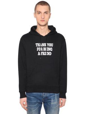 Thank You Printed Hooded Sweatshirt