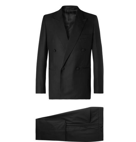 The Row - Black Mark Slim-Fit Silk Grosgrain-Trimmed Escorial Wool Tuxedo - Men - Black