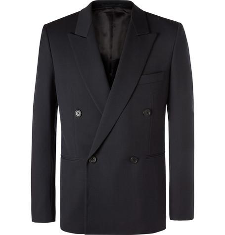 The Row - Navy Julian Slim-Fit Double-Breasted Virgin Wool Blazer - Men - Navy
