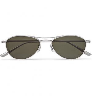 The Row - Oliver Peoples Aero LA Square-Frame Silver-Tone Titanium Sunglasses - Men - Silver
