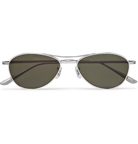 The Row - Oliver Peoples Aero LA Square-Frame Silver-Tone Titanium Sunglasses - Men - Silver
