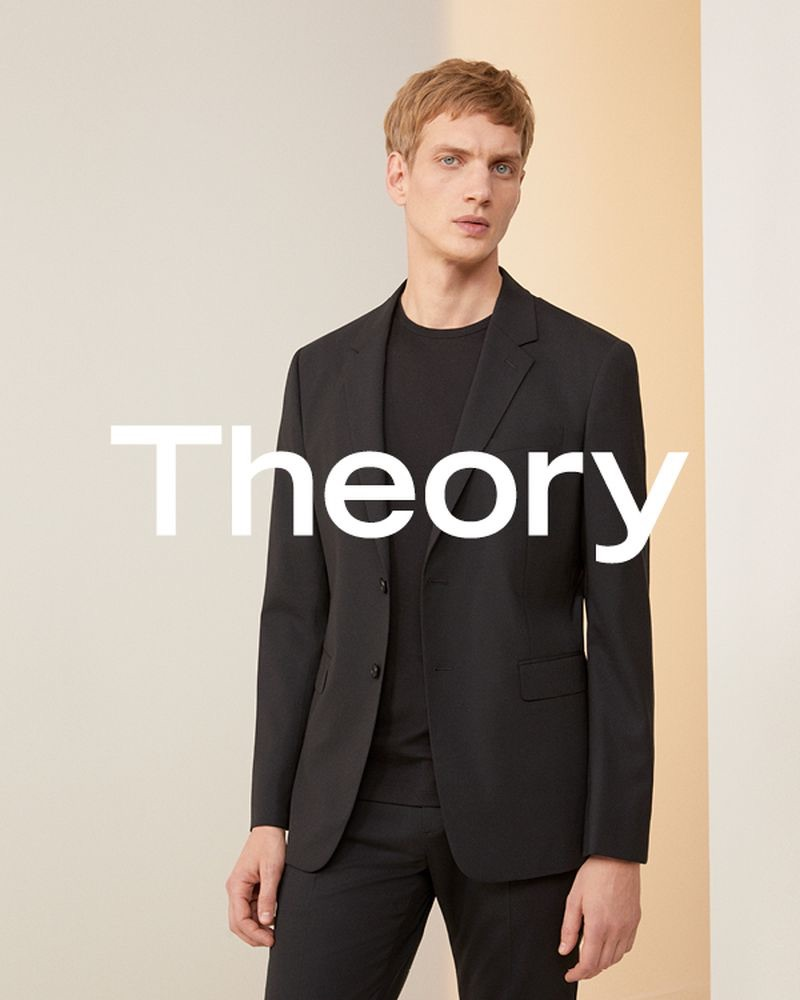 Donning a chic suit, Paul Boche stars in Theory's spring-summer 2019 campaign.