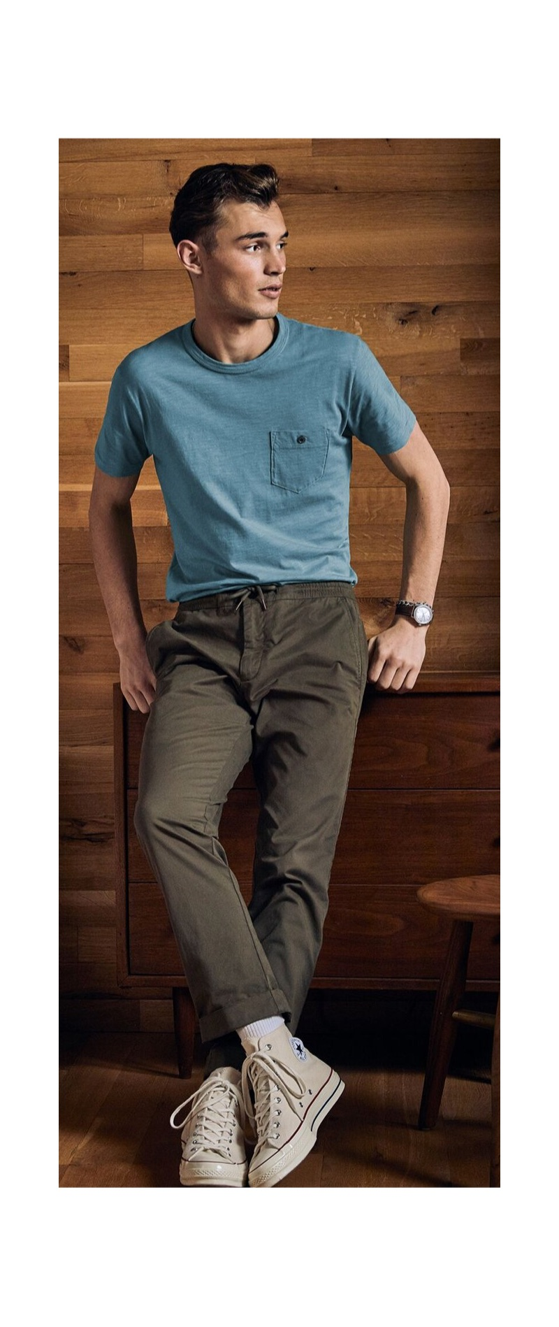 Going casual, Kit Butler wears a Todd Snyder Made in L.A. garment dyed t-shirt with drawstring pants.