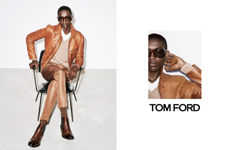 Sharif Idris dons a buttery soft leather jacket for Tom Ford's spring-summer 2019 campaign.