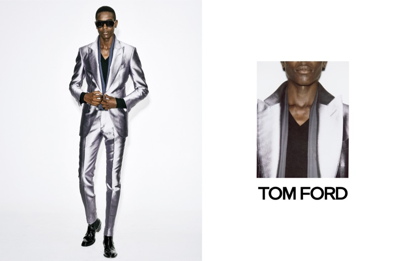 Model Sharif Idris makes a metallic statement in a sharp suit for Tom Ford's spring-summer 2019 campaign.
