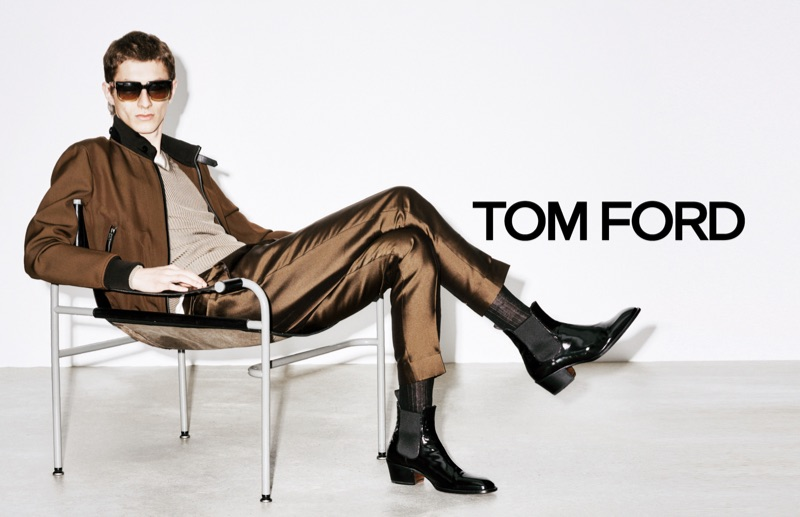 Taking a seat, Henry Kitcher appears in Tom Ford's spring-summer 2019 campaign.