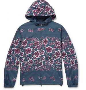 Valentino - Slim-Fit Hibiscus-Print Shell Hooded Jacket - Men - Storm blue
