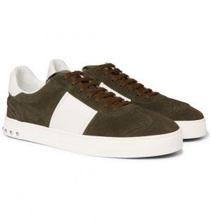 Valentino - Valentino Garavani Flycrew Leather-Panelled Suede Sneakers - Men - Army green
