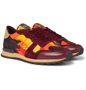 Valentino - Valentino Garavani Rockrunner Camouflage-Print Canvas, Leather and Suede Sneakers - Men - Burgundy