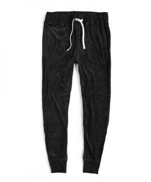 Velour Slim Sweatpant in Black