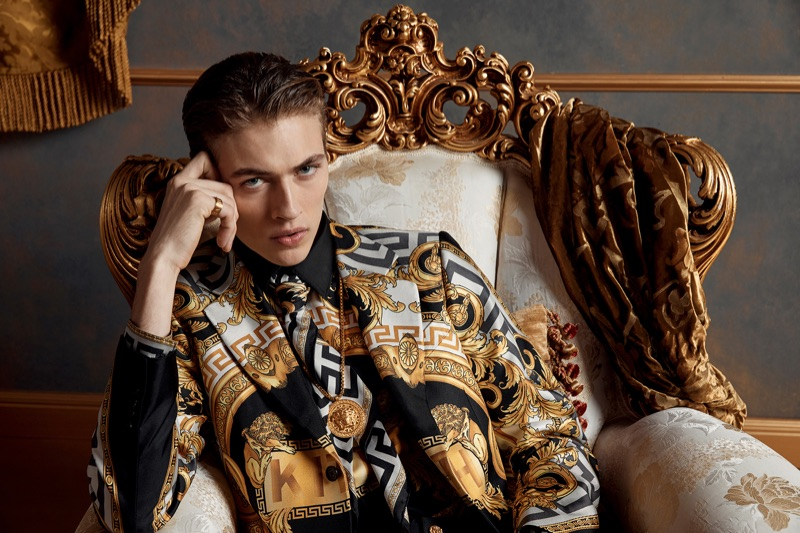 American model Lucky Blue Smith fronts the campaign for the Kith x Versace collection.