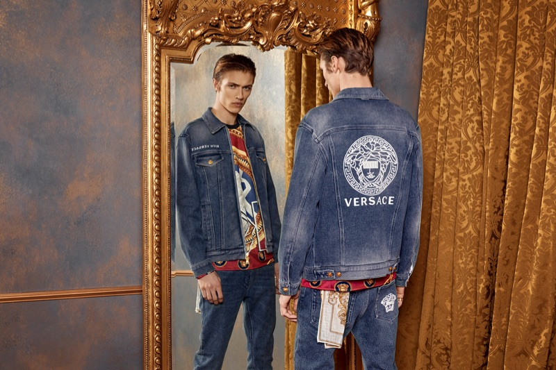 Clad in denim, Lucky Blue Smith wears Kith x Versace.