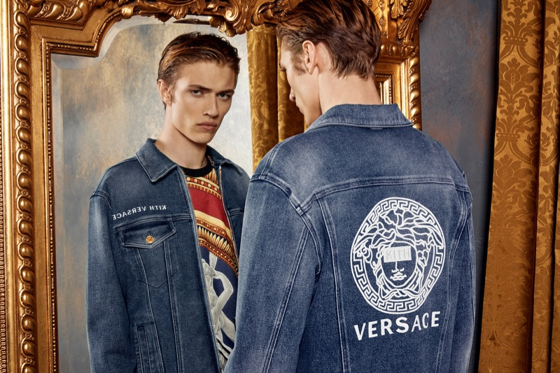 Lucky Blue Smith sports a denim look from the Kith x Versace collection.