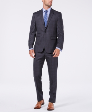 Vince Camuto Men's Slim-Fit Stretch Medium Gray Plaid Flannel Wool Suit
