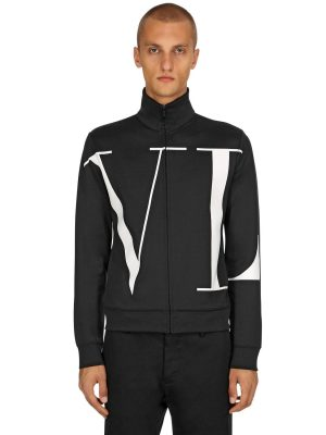 Vltn Logo Cotton Blend Track Jacket