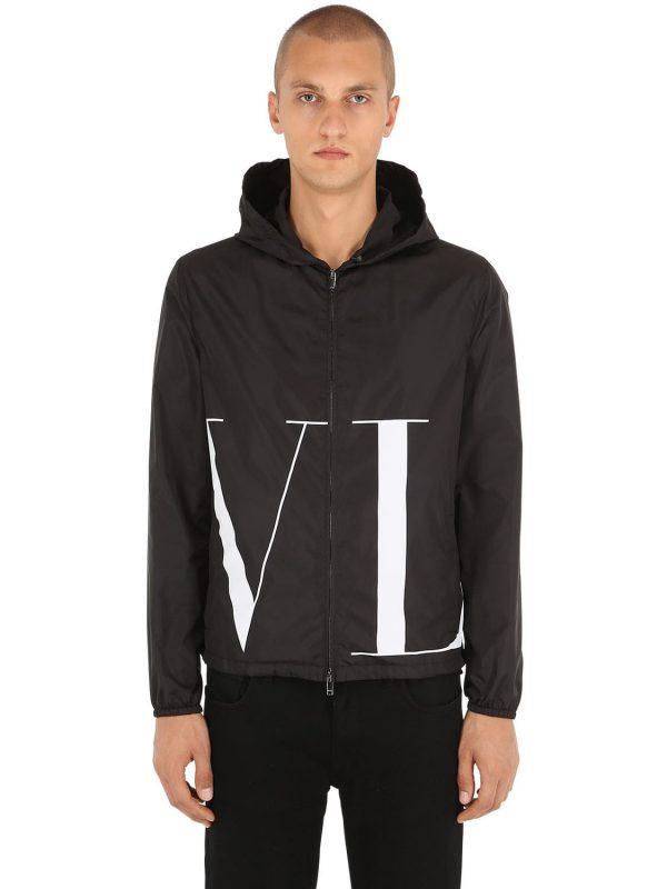 Vltn Logo Printed Nylon Jacket