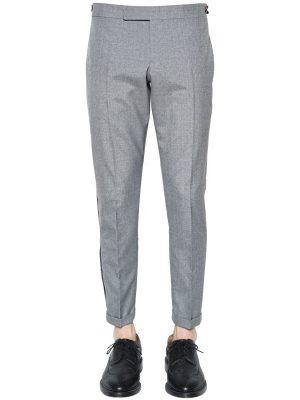 Wool Blend Crepe Pants W/ Selvedge