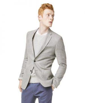 Wool/Linen Basketweave Sport Coat in Grey