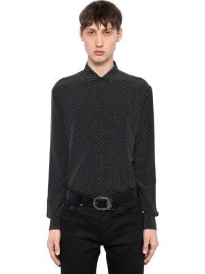 Yves Micro Polka Dot Silk Shirt