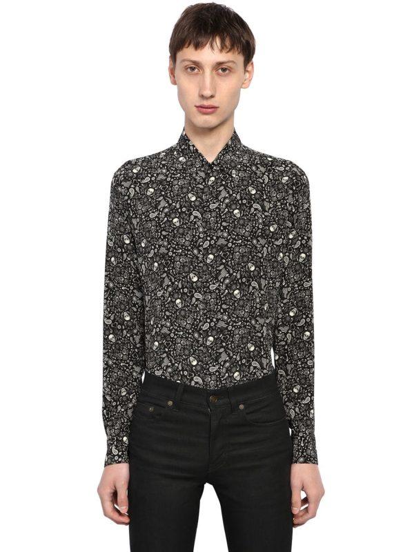 Yves Skull Printed Silk Shirt