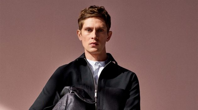 Mathias Lauridsen dons a blouson jacket with drawstring pants from Zara.