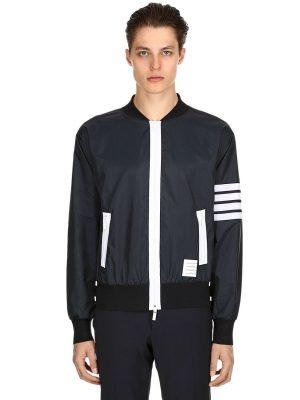 Zip-up Lightweight Nylon Bomber Jacket