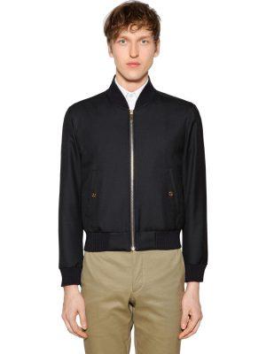 Zip-up Wool Twill Bomber Jacket