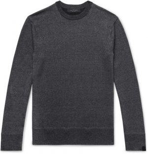 rag & bone - Dean Mélange Merino Wool, Linen and Cotton-Blend Sweater - Men - Charcoal