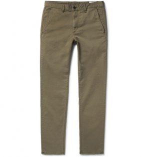 rag & bone - Fit 2 Slim-Fit Garment-Dyed Stretch-Cotton Twill Chinos - Men - Army green