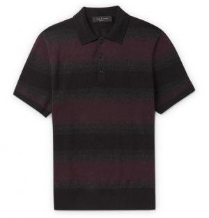 rag & bone - Striped Cotton and Cashmere-Blend Polo Shirt - Men - Burgundy