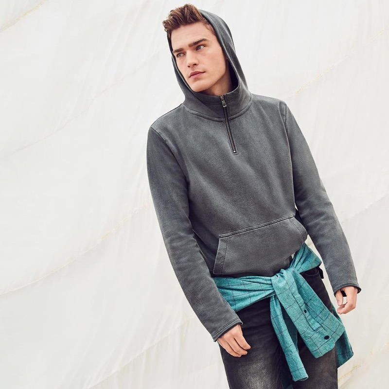 Embracing sporty style, Bo Develius fronts Q/S designed by's spring-summer 2019 campaign.