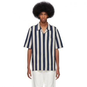 AMI Alexandre Mattiussi Beige and Navy Striped Shirt