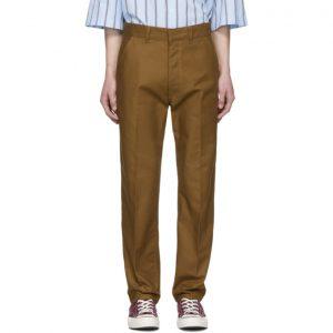 AMI Alexandre Mattiussi Brown Straight-Fit Trousers
