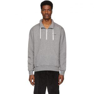 AMI Alexandre Mattiussi Grey Ami Paris Patch Half-Zipped Sweatshirt