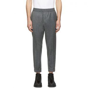 AMI Alexandre Mattiussi Grey Wool Elastic Waist Trousers