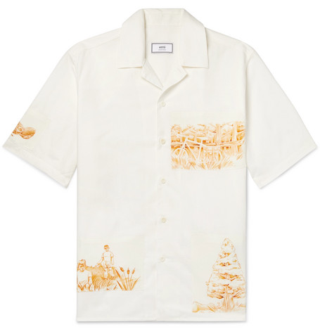 AMI - Camp-Collar Appliquéd Cotton, Linen and Ramie-Blend Shirt - Men - Off-white
