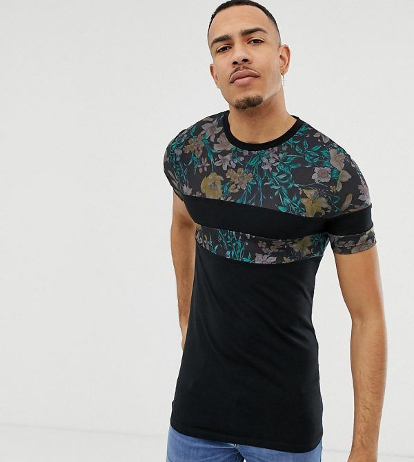 ASOS DESIGN Tall muscle fit t-shirt with floral print cut and sew panels - Black
