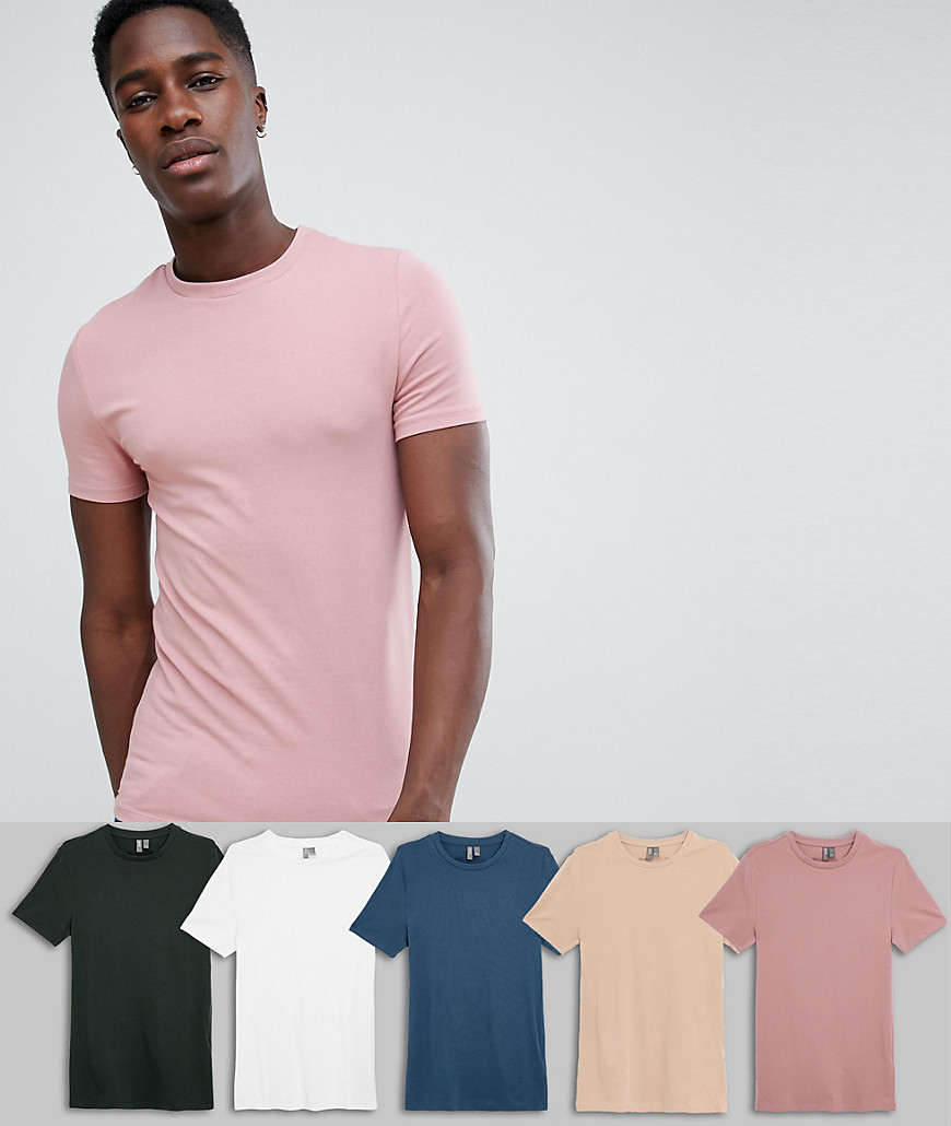7082dd4c7fcc ASOS DESIGN muscle fit t-shirt with crew neck 5 pack MULTIPACK SAVING –  Multi | The Fashionisto