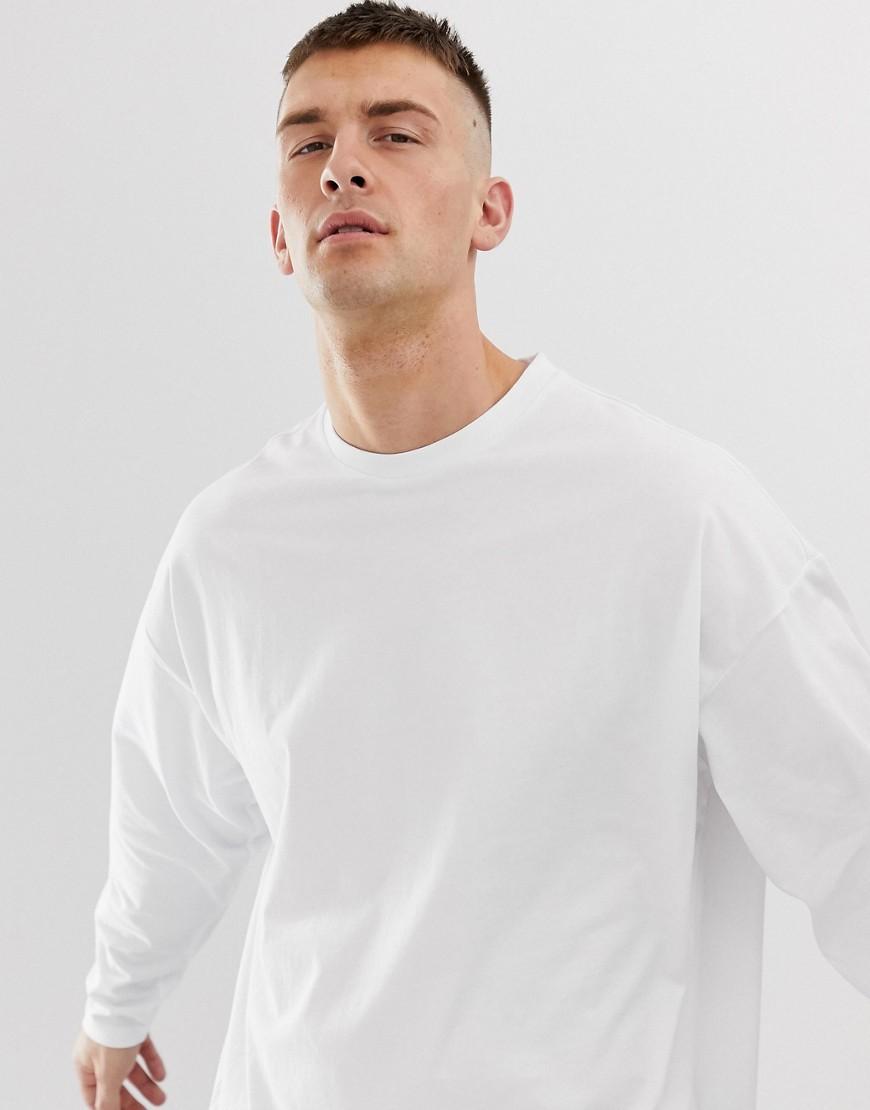 889029e325cb ASOS DESIGN oversized long sleeve t-shirt with crew neck in white – White