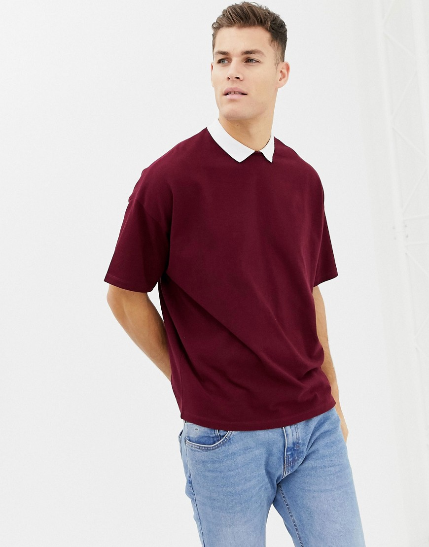7a36718b2d ASOS DESIGN oversized polo shirt in heavyweight pique fabric with inserted  neck in burgundy – Red