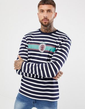 ASOS DESIGN relaxed heavyweight long sleeve striped t-shirt with emblem print - Multi